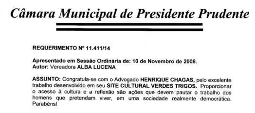 Câmara Municipal de Presidente Prudente congratula Verdes Trigos pelos 10 anos